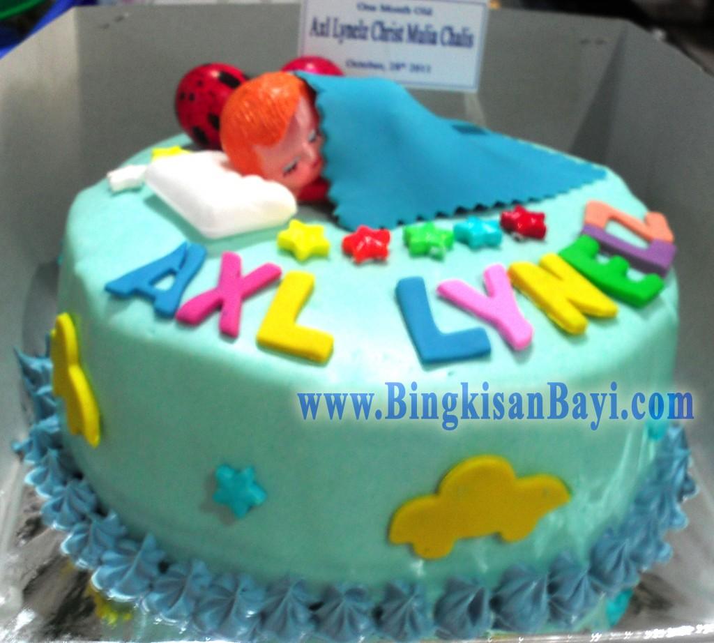 Kue Tart sebulanan Bayi Biru